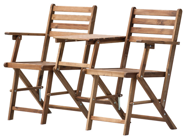 Tremendous Ab Home Folding Attached Chairs And Table In Natural Finish Unemploymentrelief Wooden Chair Designs For Living Room Unemploymentrelieforg