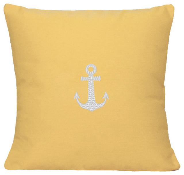 Yellow Beach Throw Pillows : Sunbrella Anchor Pillow by Nantucket Bound, Yellow - Beach Style - Decorative Pillows - by ...