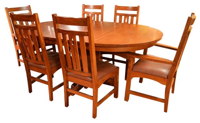 Delicieux Arts And Crafts Mission Oak Dining Table And 6 Mission Oak Chairs, 7 Piece