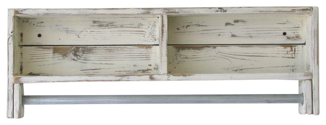 Rustic Towel Rack Shelf White