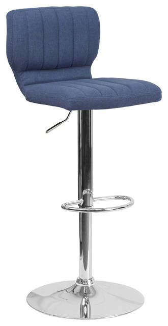 "Adjustable Fabric Barstool With Chrome Base, 19"", Blue."