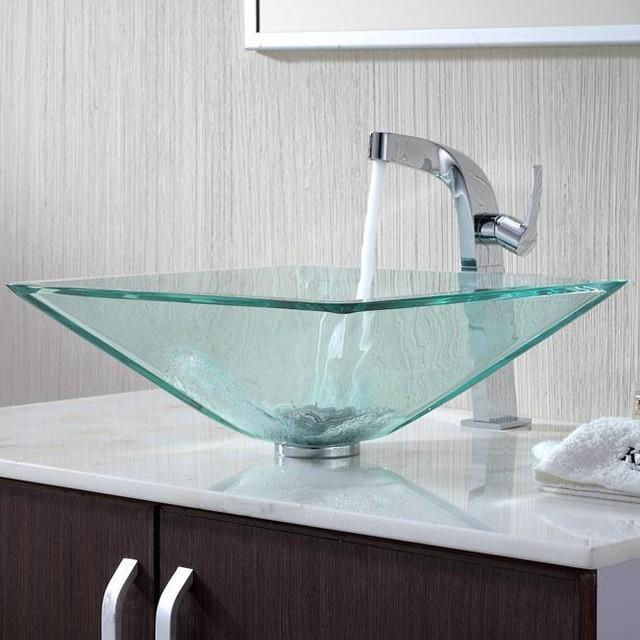 Kraus C-GVS-901-19mm-15100CH Clear Aquamarine Glass Vessel Sink & Typhon Faucet
