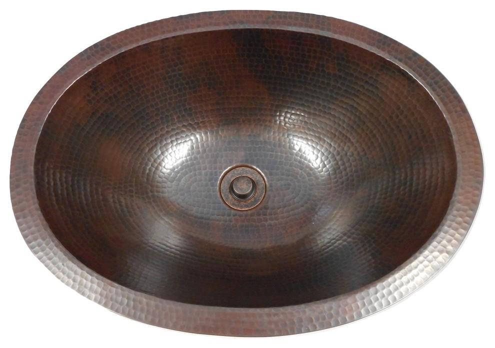 19 X 14 Oval Copper Bath Sink Drop In