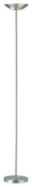 1 Light Led Bulb Torchiere Lamp In Satin Steel.