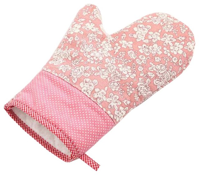 Village-Style Flowers Pattern Oven Mitts Cooking Oven Gloves, 2-Piece Set