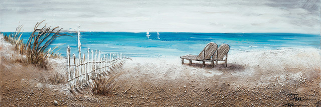 """""""the Ocean Front"""" Hand Painted Canvas Art, 60""""x20""""."""
