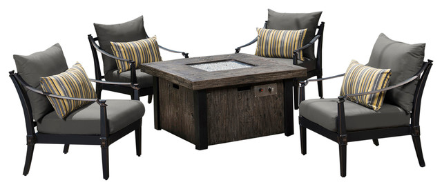Astoria 5-Piece Fire Chat Outdoor Set by RST Brands, Charcoal Gray