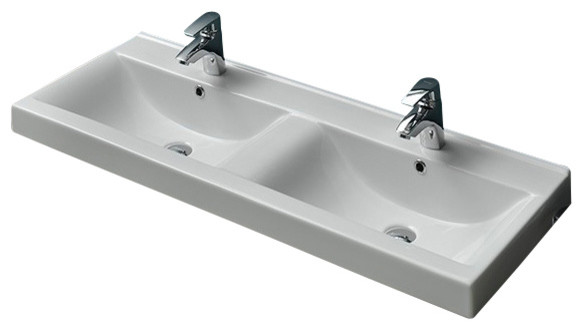 47 Inch Ceramic Double Bathroom Sink Contemporary