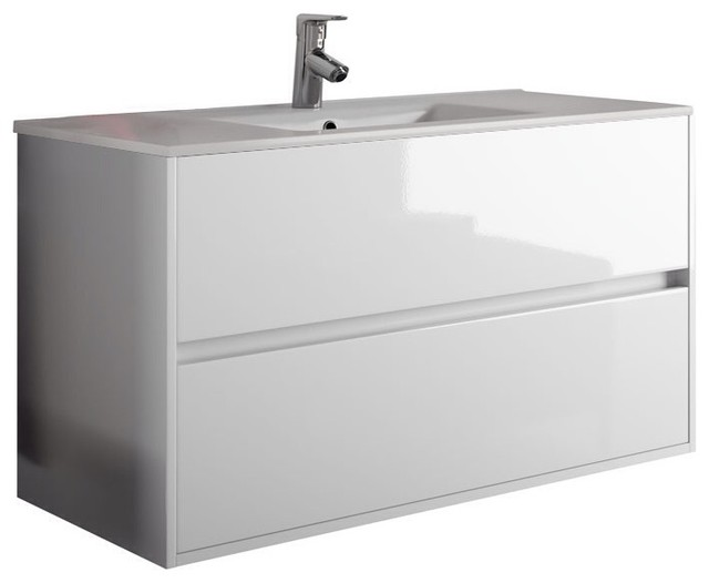 "Modern Bath Vanity Model Concetto 6000, White, 32""."