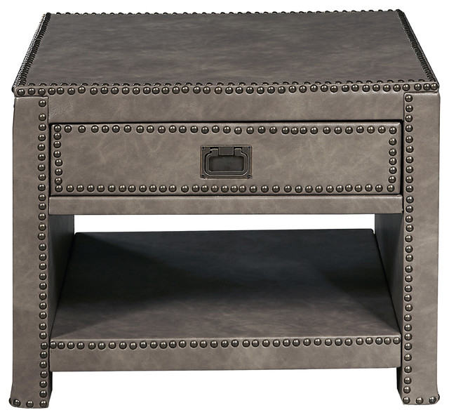 Attirant Industrial Style Square Gray Faux Leather Trunk Table