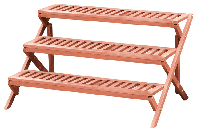 3 Tier Wooden Step Plant Stand, Patio Plant Stands Tiered