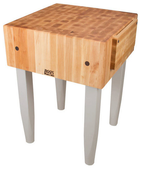 "John Boos 10"" Pca Kitchen Butcher Block And Wood Knife Holder, Useful Gray."