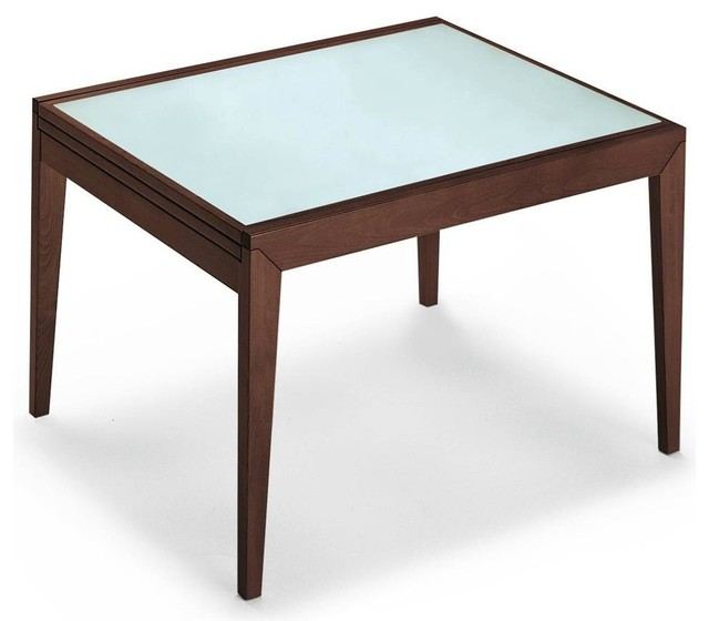 Bon Ton Gl Wood Extending Table Frosted