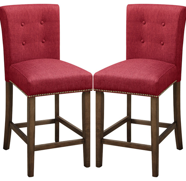 Adarn Linen Button Tufted Back Counter High Dining Chairs
