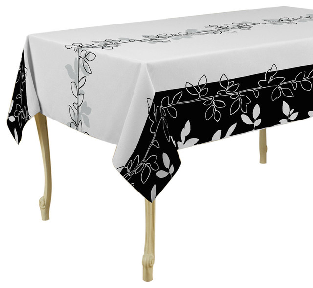 Modern White and Black Tablecloth - Contemporary ...
