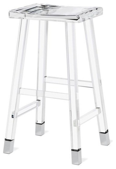 Reva Lucite Bar Stool Nickel Contemporary Bar Stools