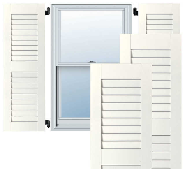 """12"""" X 54"""" Exterior Western Red Cedar Louvered Shutters, White."""