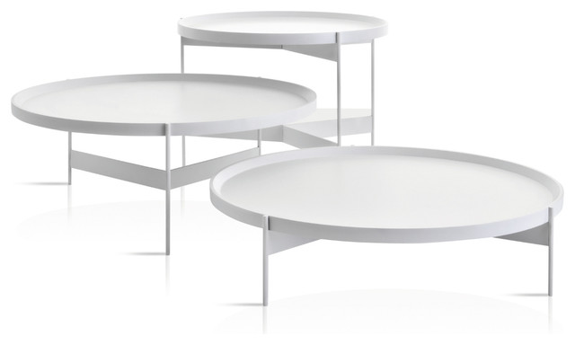 Abaco Modern Round Cocktail Table, Portable Tray, White Anti Scratch, Tall