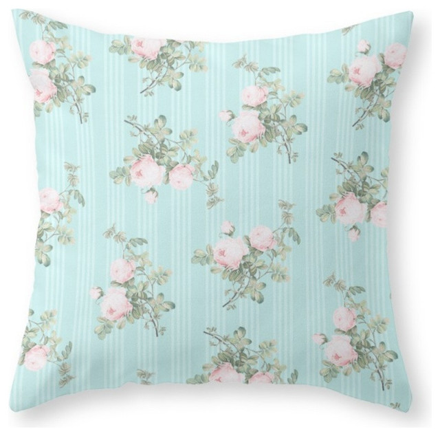 Shabby Chic Roses Pink and Mint Throw Pillow - Farmhouse - Decorative Pillows - by Society6