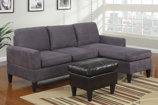 Delicieux Modern Small Gray Microfiber Sectional Sofa Reversible Chaise Ottoman