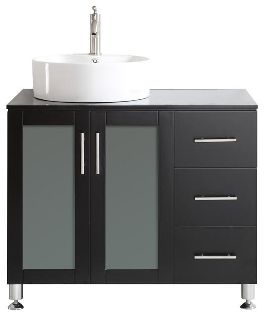 ... White Vessel Sink, Espresso contemporary-bathroom-vanities-and-sink