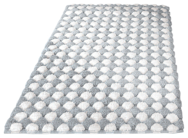 Ordinaire Silver Machine Washable Cotton Bathroom Rug, Merida, Medium