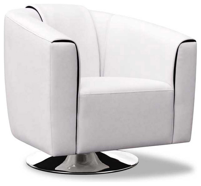 maxine white leatherette swivel lounge chair