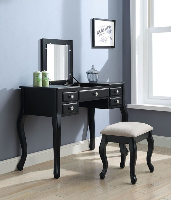 Acme Furniture Ordius Tan Fabric and Black Vanity Set