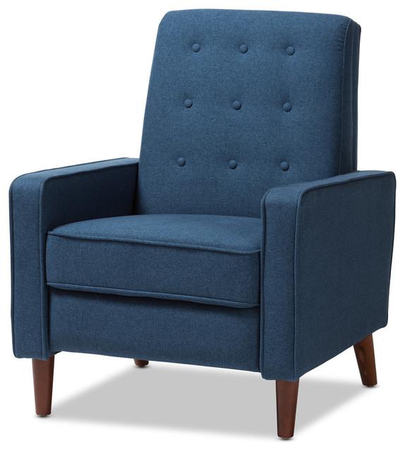 Mathias Fabric Lounge Chair, Blue