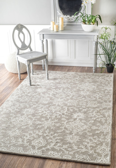 Hand-Tufted Wool Floral Damask Area Rug