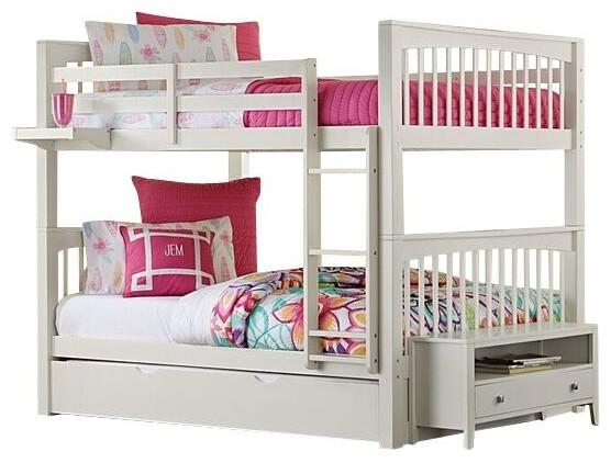 Larkin Full Over Full Bunk Bed, Crisp White, Trundle Bed.