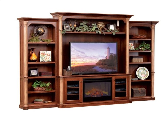 Jefferson Premier Entertainment TV Stand & Hutch with Fireplace ...