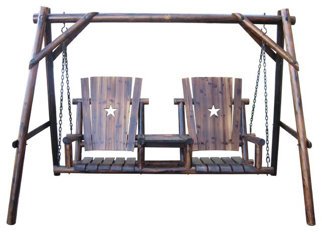Char Log Tete A Tete Swing Set Rustic Porch Swings