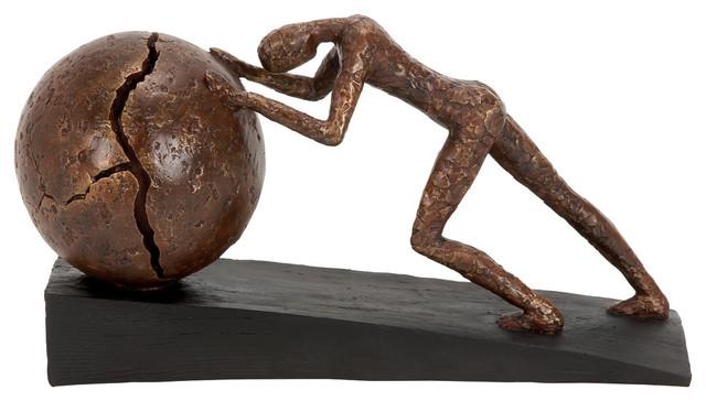 Contemporary Polystone Sculpture Man Pushing Sphere Bronze Color Decor 58264