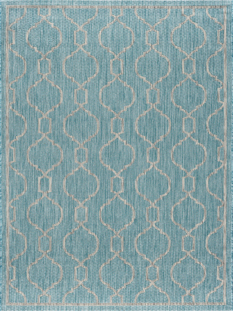 Villa Geometric Aqua Rectangle Easy-Care Indoor/outdoor Area Rug, 8&x27; X 10&x27;.