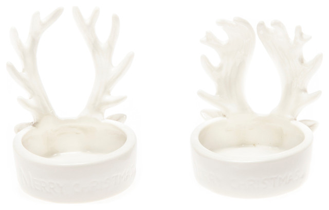White Antler Tea Light Candle Holders, 2-Piece Set