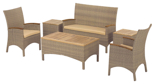 Torbay 6 Piece Chair And Coffee Table Chat Set, Antique Resin Wicker, Teak