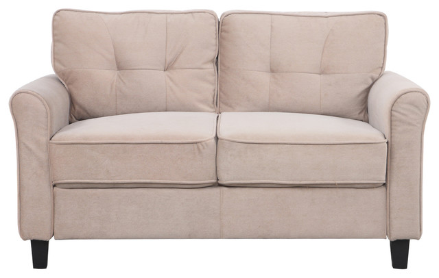 Classic Ultra Comfortable Microfiber Fabric Living Room Loveseat, Hazelnut.