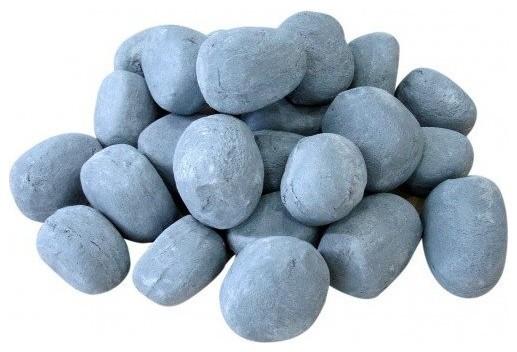 Decorative Gray Ceramic Pebbles, 24-Piece Set.