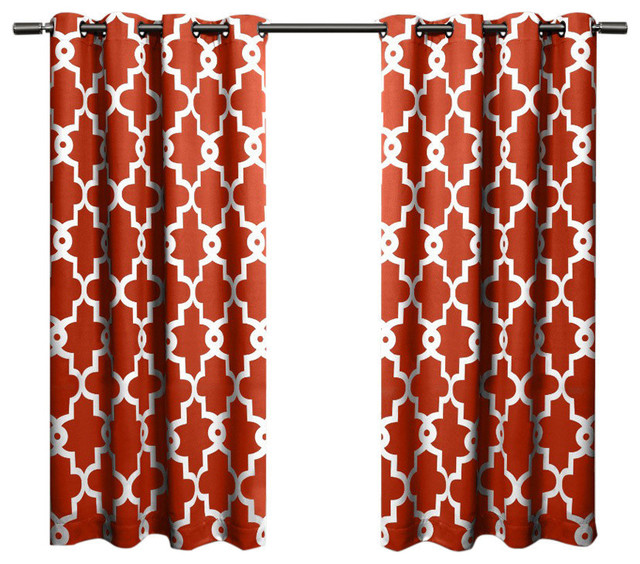 Home Ironwork Sateen Woven Darkening Curtain Panel Pair, Mecca Orange, 52x63.