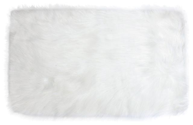 27x45 Keller Faux Mongolian Rectangle Rug, Bright White.