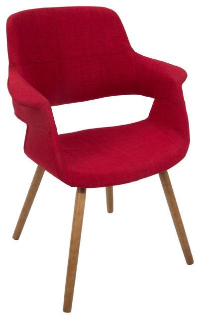 Vintage Flair Mid-Century Modern Chair, Red.