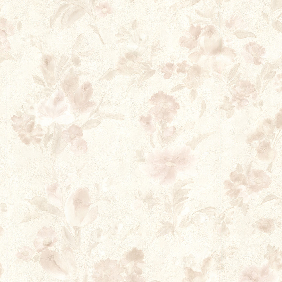 Miriam Peach Floral Wallpaper Traditional Wallpaper By