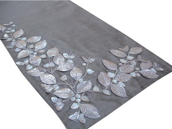Superbe Decorative Table Runners, Silver Beige, Silver, Ivory,silk   Contemporary   Table  Runners   By The HomeCentric