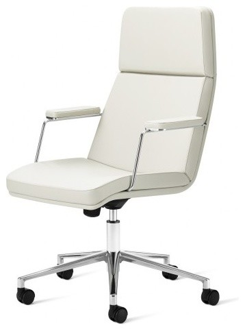 Superieur Criss Cross Mid Back Swivel Desk Chair With Arms, White Faux Leather