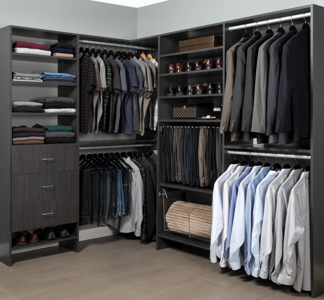Walk In Men S Closet Organizer In A Contemporary Licorice Finish Contemporary Closet