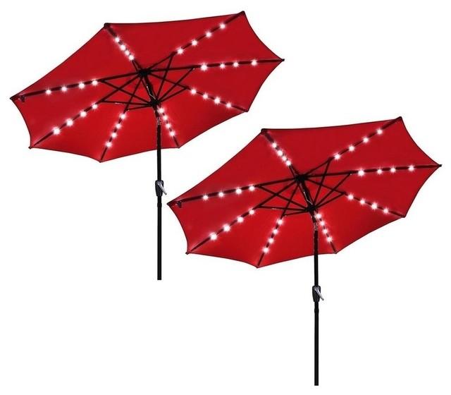 2-Pieces 9&x27; Outdoor Aluminium Solar Patio Umbrella With 32 Leds Crank Tilt, Red.