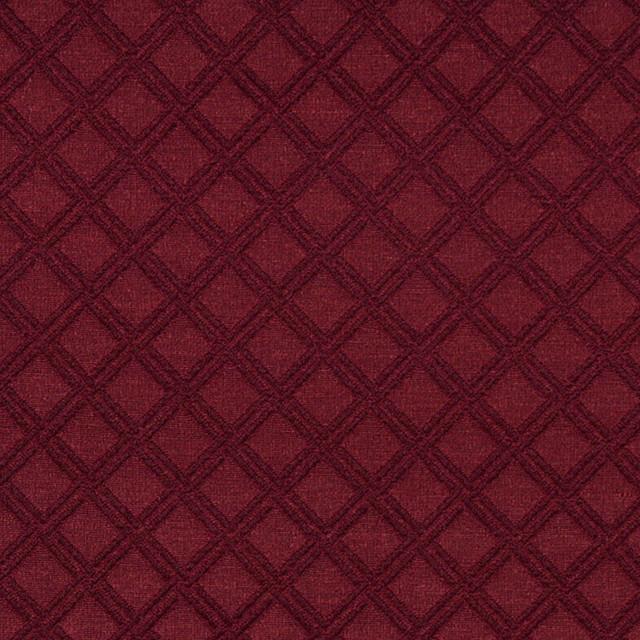 Burgundy Stitched Diamond Woven Matelasse Upholstery Grade Fabric By The Yard