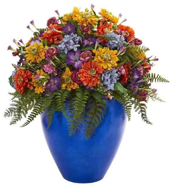 Artificial Flowers Giant Mixed Floral Arrangement In Blue Vase Artificial Plant Tropical Artificial Flower Arrangements By Wrought Iron Haven