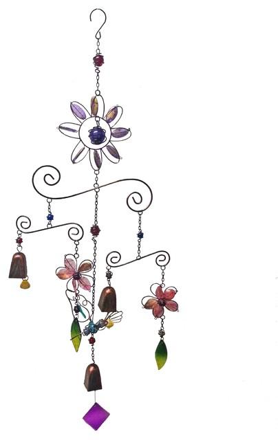 Three Tiers Wind Chime, Purple, 16x5x43